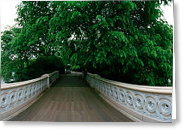Bow Bridge Greeting Cards - 360 Degree View Of A Footbridge In An Greeting Card by Panoramic Images