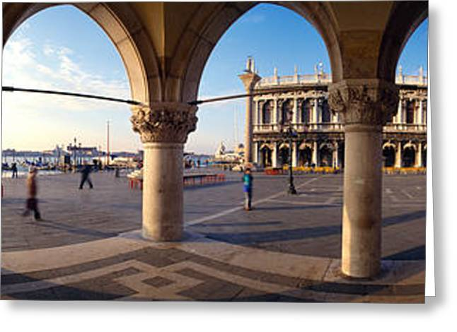 Town Square Greeting Cards - 360 Degree View Of Buildings Viewed Greeting Card by Panoramic Images