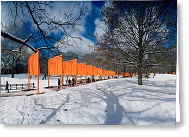 Central Park Winter Greeting Cards - 360 Degree View Of Gates In An Urban Greeting Card by Panoramic Images