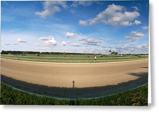 Race Horse Greeting Cards - 360 Degree View Of Horse Racing Track Greeting Card by Panoramic Images