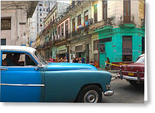 Old Street Greeting Cards - 360 Degree View Of Old Cars Greeting Card by Panoramic Images
