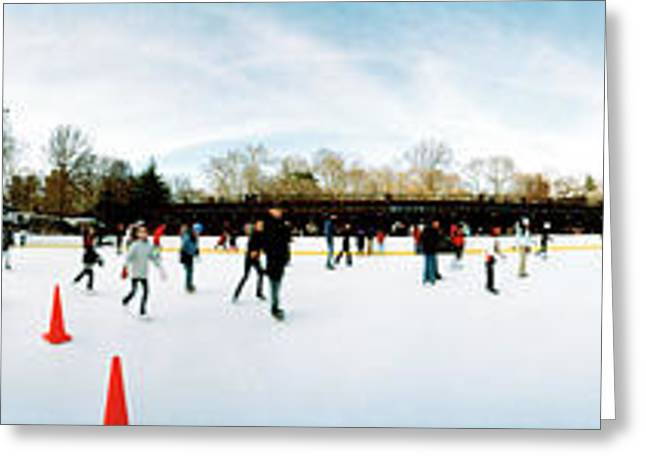 Central Park Winter Greeting Cards - 360 Degree View Of Tourists Ice Greeting Card by Panoramic Images