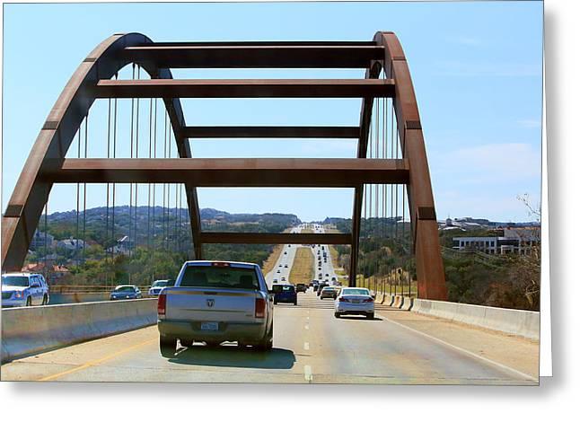 Texas Bridge Greeting Cards - 360 Iconic Bridge Greeting Card by Linda Phelps