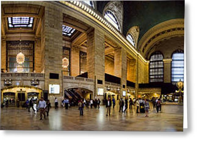 People Greeting Cards - 360 Panorama of Grand Central Station Greeting Card by David Smith