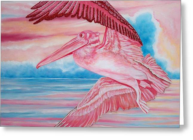 Flying Seagull Mixed Media Greeting Cards - 361 Beaded Pink Pelican Greeting Card by Sigrid Tune