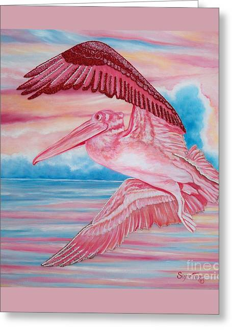Flying Seagull Mixed Media Greeting Cards - 361 Flying Beaded Pink Pelican Greeting Card by Sigrid Tune