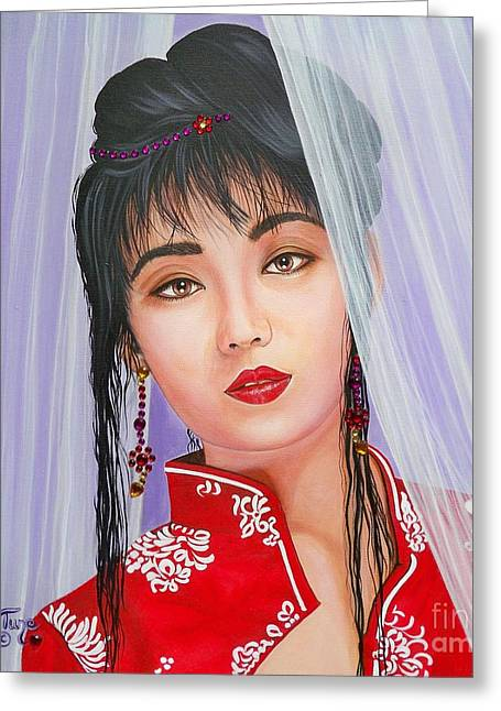 Veiled Mixed Media Greeting Cards - 362 Asian Girl Greeting Card by Sigrid Tune