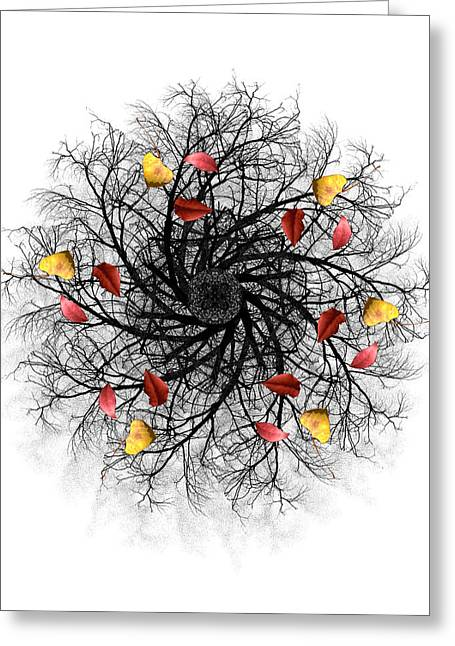 Autumn Mandala Greeting Cards - 3669 Greeting Card by Peter Holme III