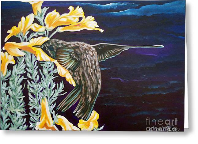 Moonglow Greeting Cards - 368 Hummingbird on Flower Greeting Card by Sigrid Tune