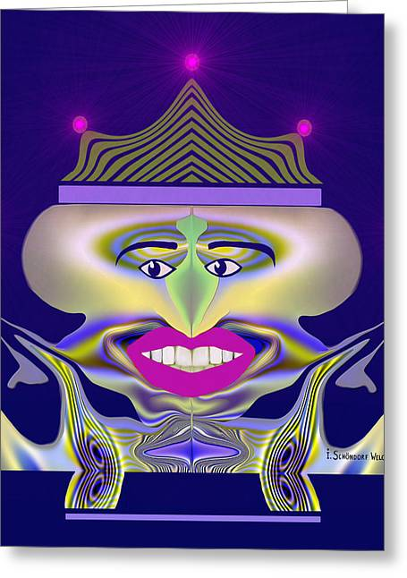 Gimp Greeting Cards - 369 - pale King of Evil Greeting Card by Irmgard Schoendorf Welch