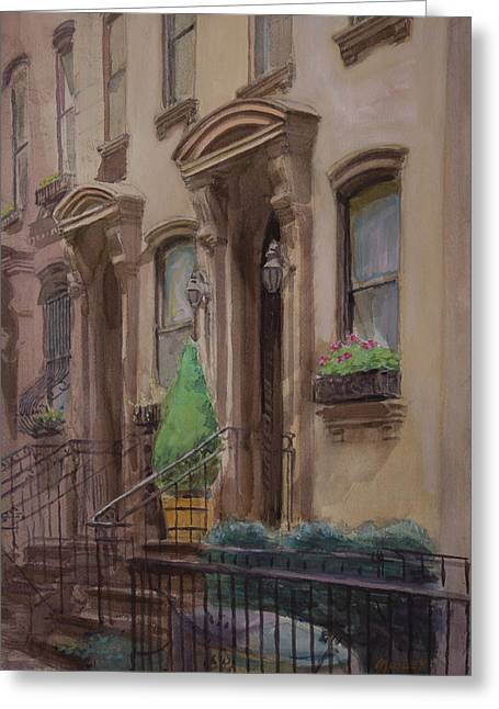Franklin Roosevelt Paintings Greeting Cards - 36th Street NY residence of FDR Greeting Card by Walter Lynn Mosley
