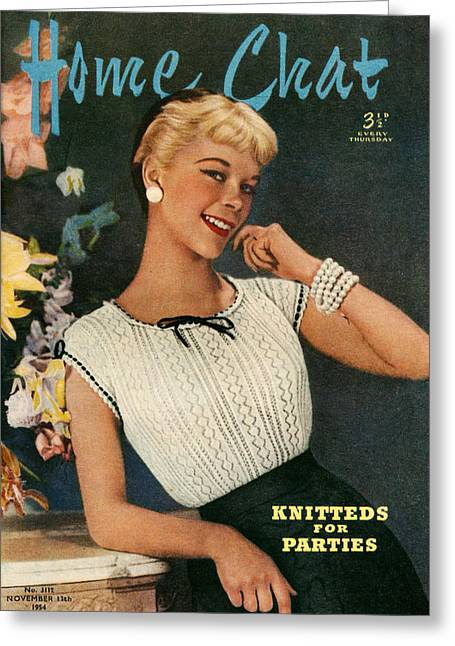 1950s Portraits Greeting Cards - 1950s Uk Home Chat Magazine Cover Greeting Card by The Advertising Archives