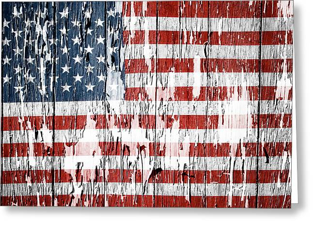 Aged Greeting Cards - American flag Greeting Card by Les Cunliffe