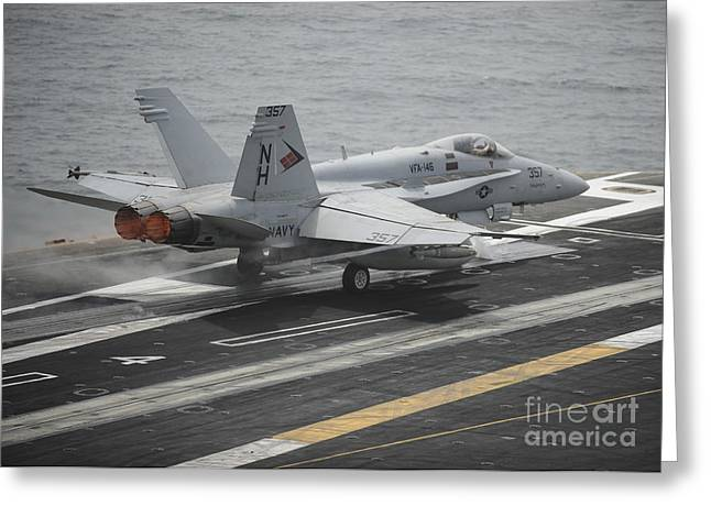 The Higher Planes Greeting Cards - An Fa-18c Hornet Launches Greeting Card by Stocktrek Images