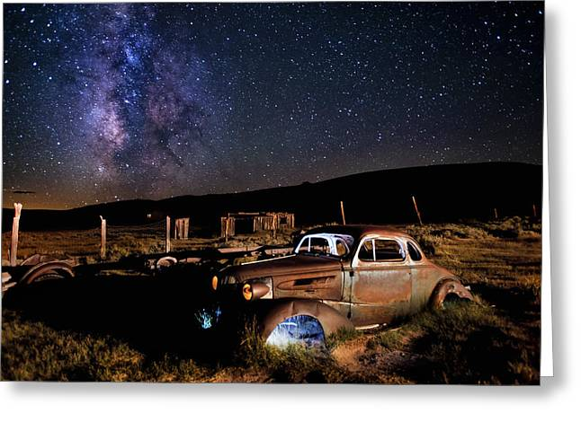 Ghost Town Greeting Cards - 37 Chevy and Milky Way Greeting Card by Cat Connor