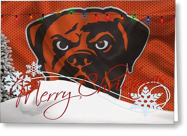 Santa Greeting Cards - Cleveland Browns Greeting Card by Joe Hamilton