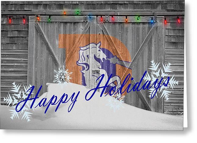 Ball Greeting Cards - Denver Broncos Greeting Card by Joe Hamilton
