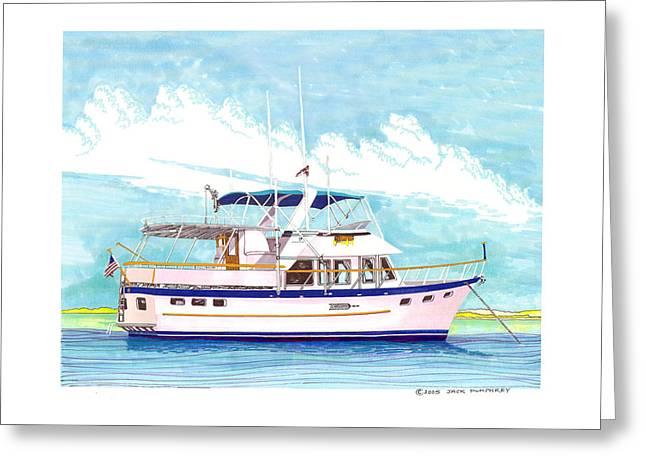 Boats In Harbor Greeting Cards - 37 foot Marine Trader 37 Trawler yacht at anchor Greeting Card by Jack Pumphrey