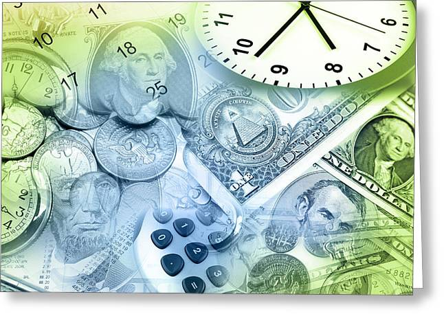 Budget Greeting Cards - Time is money  Greeting Card by Les Cunliffe