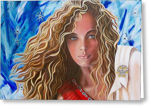 Flagg Greeting Cards - 371 Norwegian Girl Greeting Card by Sigrid Tune