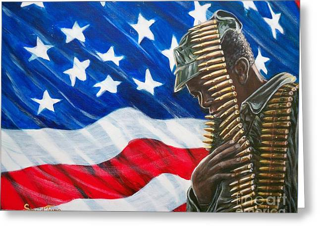 African-american Paintings Greeting Cards - 377 Soldier U.S.A. Greeting Card by Sigrid Tune