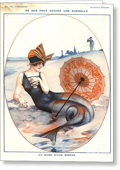 La Vie Parisienne Drawings Greeting Cards - 1920s France La Vie Parisienne Magazine Greeting Card by The Advertising Archives