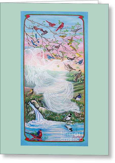 Nature Scene Paintings Greeting Cards - 380  Whistling Angel and Birds Greeting Card by Sigrid Tune