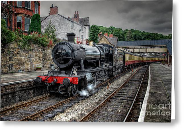 2-8-0 Greeting Cards - 3802 at Llangollen Station Greeting Card by Adrian Evans