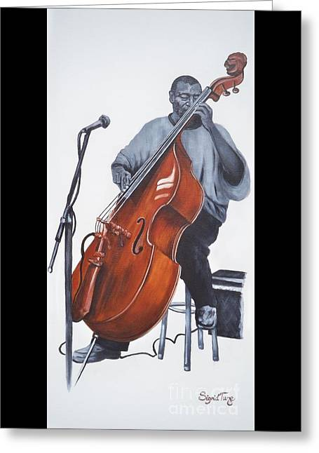 Bass Player Greeting Cards - 382 Henry Franklin - on bass Greeting Card by Sigrid Tune