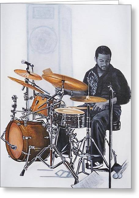 Drum Paintings Greeting Cards - 383 Tony Austin - drums Greeting Card by Sigrid Tune