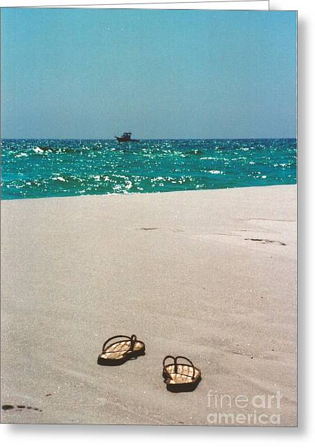 Ocean Photography Greeting Cards - #384 33a Sandals on the Beach - Destin Florida Greeting Card by Robin Lee Mccarthy Photography