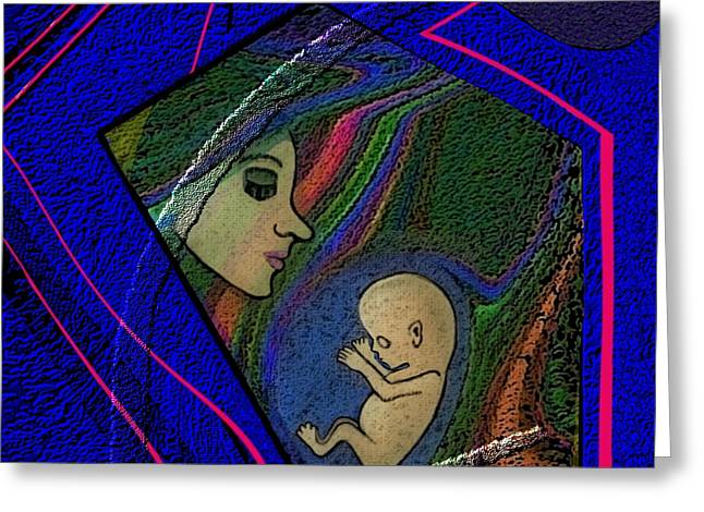Woman Fetus Greeting Cards - 386 - Her unborn child... Greeting Card by Irmgard Schoendorf Welch