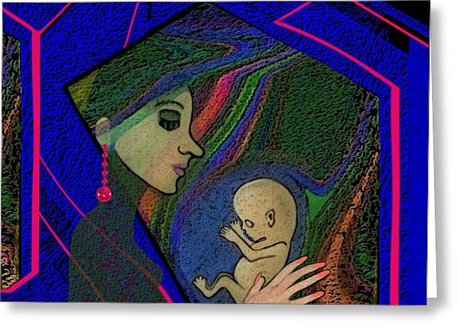 Woman Fetus Greeting Cards - 387 -  Thinking of her unborn child ...    Greeting Card by Irmgard Schoendorf Welch