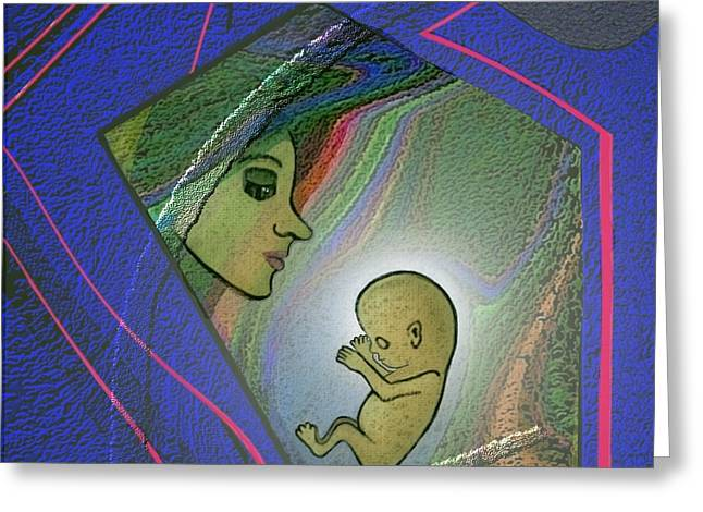 Woman Fetus Greeting Cards - 388  - Her unborn child   Greeting Card by Irmgard Schoendorf Welch