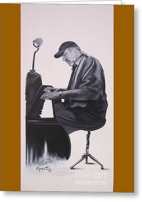 Jazz Pianist Greeting Cards - 388 Theo Saunders - plays  piano Greeting Card by Sigrid Tune