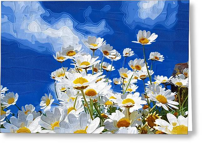 Prints Of Flowers Greeting Cards - Abstract Flowers Painting Greeting Card by Victor Gladkiy