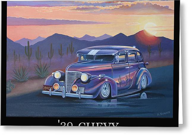 Chrome Paintings Greeting Cards - 39 Chevy Greeting Card by Stuart Swartz
