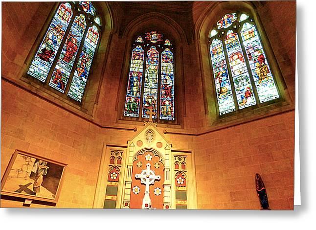 Glass Wall Pyrography Greeting Cards - Church Greeting Card by Girish J