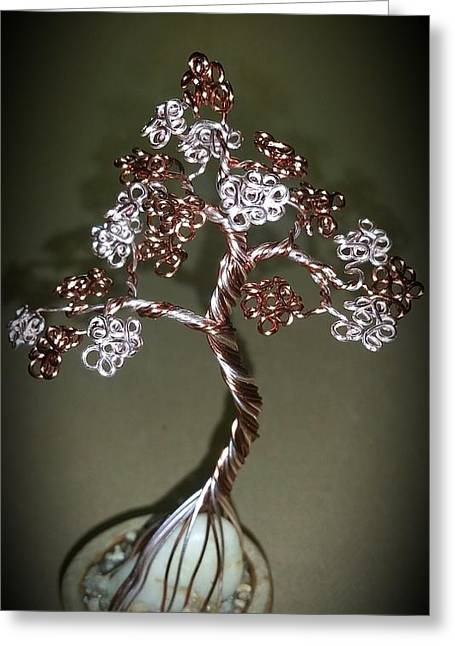 Etc. Sculptures Greeting Cards - #39 Pretty Petite Bonsai Tree Wire Tree Sculpture Greeting Card by Ricks  Tree Art