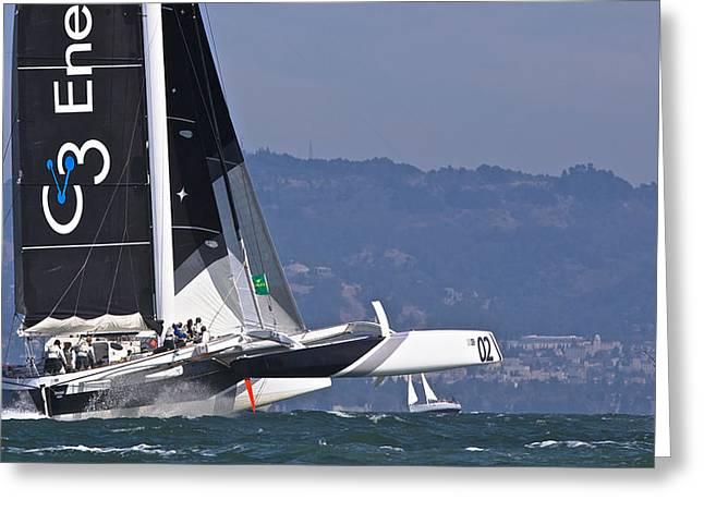 Penn Cove Greeting Cards - Rolex Big Boat Series Greeting Card by Steven Lapkin