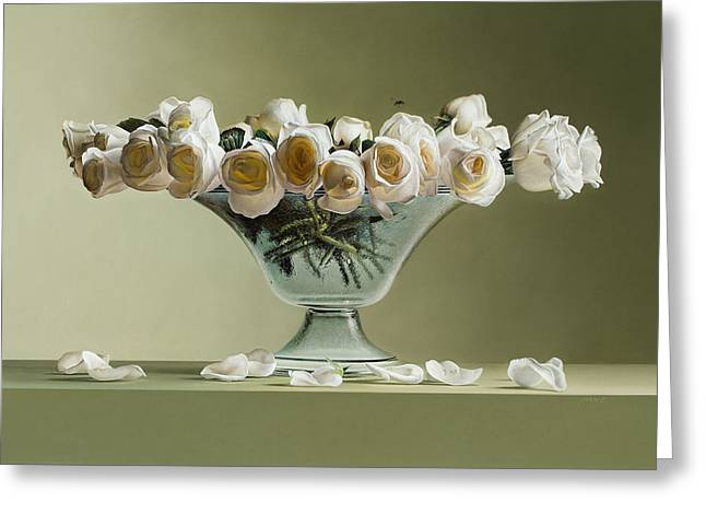 Photorealistic Paintings Greeting Cards - 39 Roses Greeting Card by Mark Van crombrugge