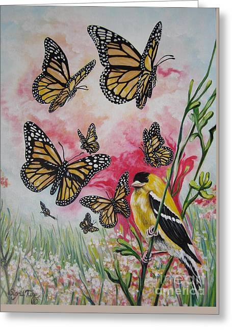 Butterfly In Flight Greeting Cards - 390r Goldfinch on Red Tulip Greeting Card by Sigrid Tune
