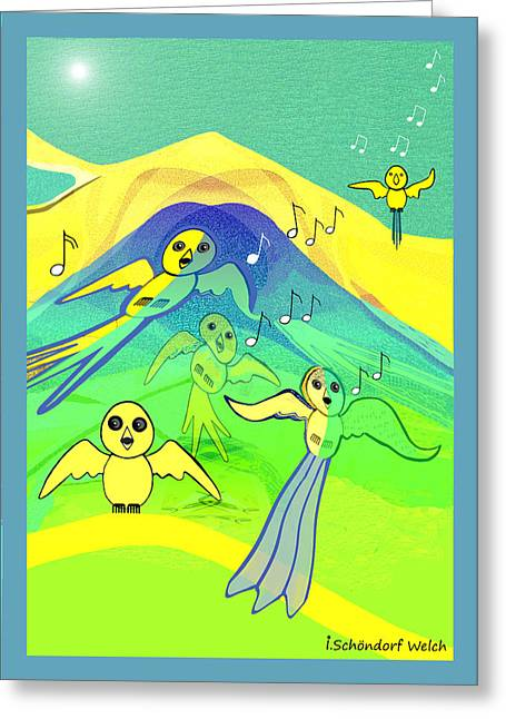 Naive Art Greeting Cards - 391 - Young birds flying   Greeting Card by Irmgard Schoendorf Welch