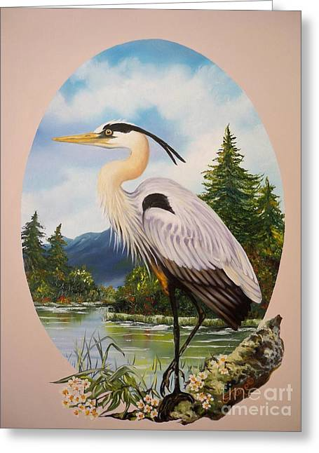 Blue Oval Greeting Cards - 394 - Great Blue Heron Greeting Card by Sigrid Tune