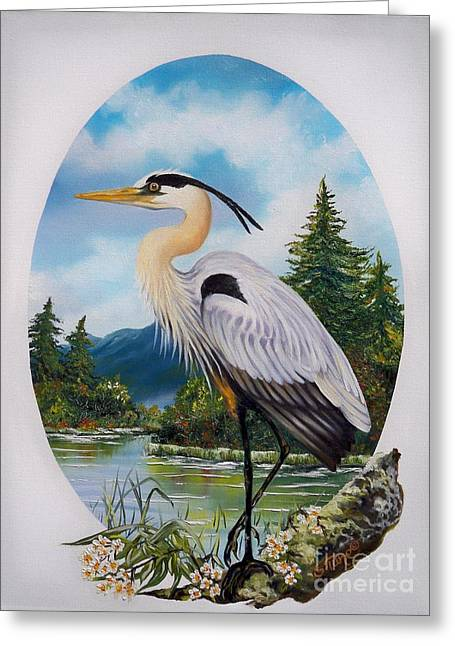 Blue Oval Greeting Cards - 394W - Great Blue Heron at Home Greeting Card by Sigrid Tune