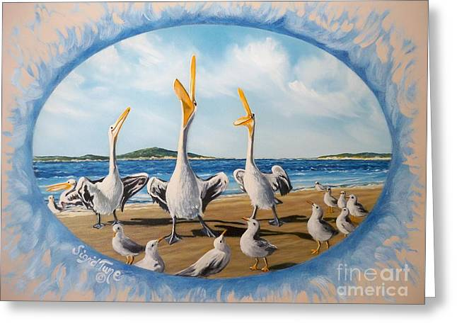 Blue Oval Greeting Cards - 396 Pelican Beach Platoon Greeting Card by Sigrid Tune