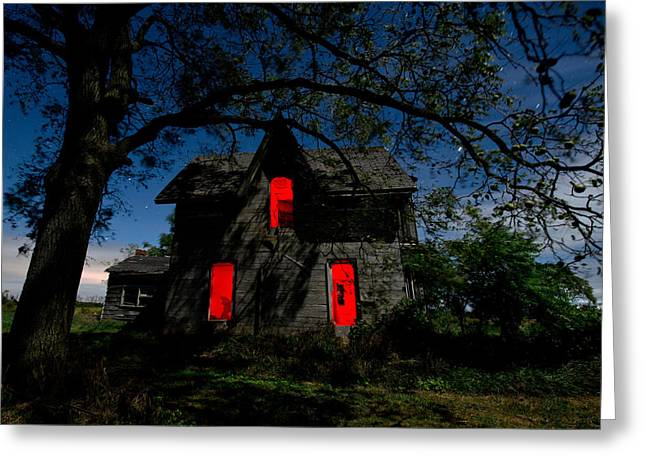Red Farmhouse Greeting Cards - 3am at the Farmhouse  Greeting Card by Cale Best