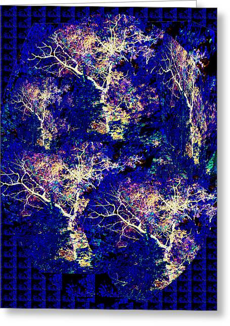 Surprise Greeting Cards - 3D Amazing Mystery Tree Lightening Thunderbolt graphic on dark blue magical base       Greeting Card by Navin Joshi