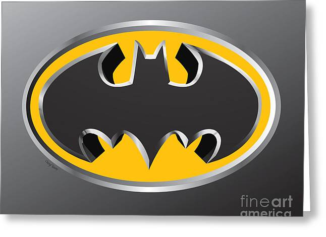 Caped Crusader Greeting Cards - 3D Bat Greeting Card by Cheryl Young