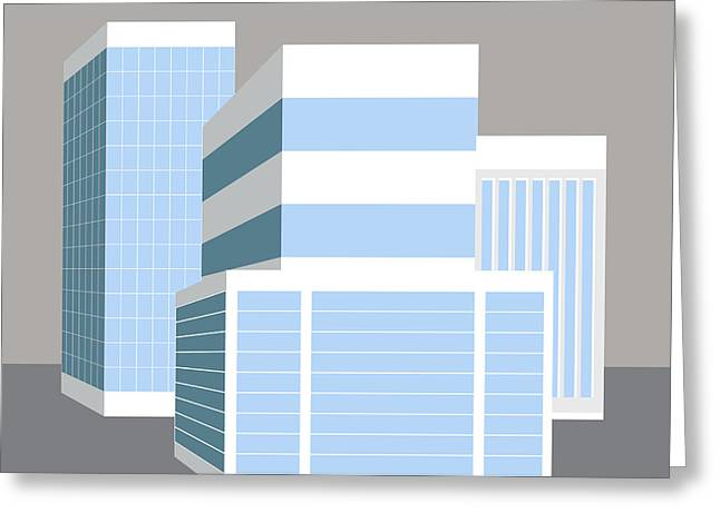 Office Space Digital Art Greeting Cards - 3D Business Buildings Greeting Card by John Takai